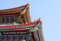 Typical chinese style roof top with chinese ornament detail in t. He temple in Thailand royalty free stock photography