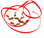 Typical christmas cinnamon star cookies Royalty Free Stock Images