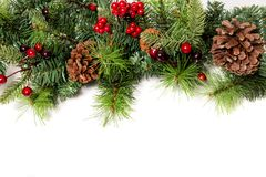 Typical Christmas decorative garland. Isolated on a white background royalty free stock photography