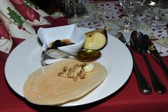 Typical Christmass food religion Waffle with Honey garlic apple walnut and plum. On the table Stock Photography