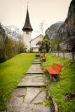 Typical church in alpine village - Lauterbrunnen, Jungfrau region in Switzerland Stock Images