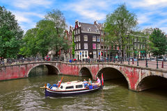 Typical city view in Amsterdam, Netherlands. Royalty Free Stock Photo