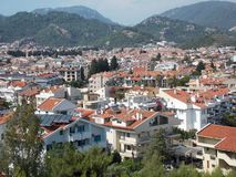 Typical city view, Marmaris. White houses with brown roofs are typical for Marmaris, Turkey royalty free stock photography