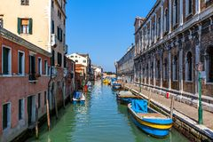 Typical cityscape of Venice, Italy. Royalty Free Stock Images