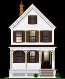 A typical and classic American house made of wood painted with white paint. Two floors, basement and attic. Night view. Stock Illustration