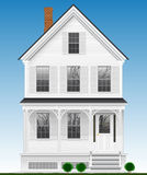 A typical and classic American house made of wood painted with white paint. Two floors, basement and attic. Royalty Free Illustration