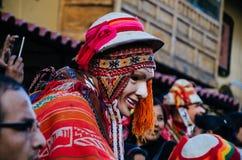 Typical clothing Ollantaytambo royalty free stock image