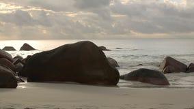 Typical coast of Anse Lazio, Praslin island in evening light. Seychelles stock footage