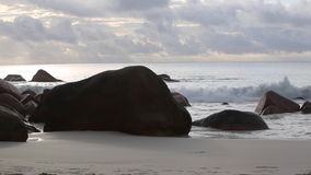 Typical coast of Anse Lazio, Seychelles, with audio. Typical coast of Anse Lazio, Praslin island, Seychelles with audio stock video footage