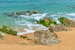 Typical coastal rocks in Lloret de Mar area Royalty Free Stock Images