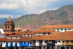 Typical colonial Architecture in Cusco. Typcal colonial architecture in the ancient city of Cuzco in the south of Peru Royalty Free Stock Photography
