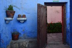 Colonial style and colorful Walls. Typical colonial architecure and colorful spanish style in Arequipa, Peru Stock Photo