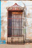 Typical colonial building with door iron grate, Trinidad, Royalty Free Stock Images
