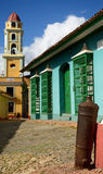 Typical colonial Cuban architecture in Trinidad. Old Spanish cannons being used for a protection of corners of colonial buildings on Cuba in the most tourist stock images