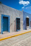Typical colonial street in Campeche, Mexico. Stock Photos