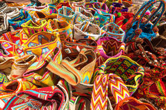 Traditional Bags in Colombia. Typical colorful bags of the Wayuu Indians for sale as souvenirs in Riohacha, Colombia Royalty Free Stock Photo