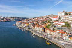 The typical colorful buildings of the Ribeira District and the Douro River in the city of Porto Royalty Free Stock Images