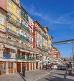 The typical colorful buildings of the Ribeira District Stock Image