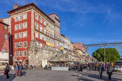 The typical colorful buildings of the Ribeira District Royalty Free Stock Photos