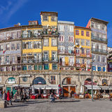 The typical colorful buildings of the Ribeira District Royalty Free Stock Images