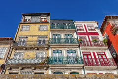 The typical colorful buildings of the Ribeira District Royalty Free Stock Image