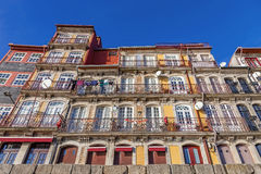 The typical colorful buildings of the Ribeira District Royalty Free Stock Photography