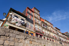 The typical colorful buildings of the Ribeira District in Porto, Portugal Royalty Free Stock Images