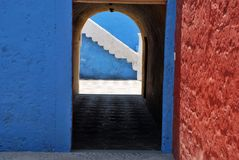 Typical colorful colonial style in Arequipa royalty free stock photos