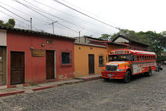 Typical colorful guatemalan chicken bus in Antigua, Guatemala Stock Photo