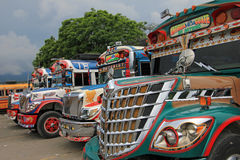 Typical colorful guatemalan chicken bus in Antigua, Guatemala Royalty Free Stock Photography