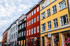 Typical colorful houses and building exteriors in Copenhagen old town, close up on windows and details. COPENHAGEN, DENMARK - JANUARY 3, 2015: Typical colorful royalty free stock photos