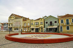 Typical colorful houses of Costa Nova, Aveiro district, Portugal. Stock Photography