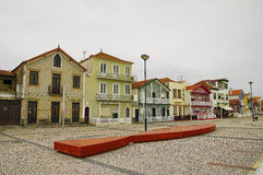 Typical colorful houses of Costa Nova, Aveiro district, Portugal. Stock Photo
