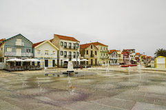 Typical colorful houses of Costa Nova, Aveiro district, Portugal. Royalty Free Stock Image