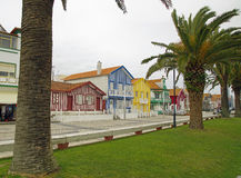 Typical colorful houses of Costa Nova, Aveiro district, Portugal. Royalty Free Stock Photography