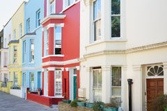 Typical colorful houses facades in London Stock Images
