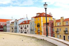 Typical colorful houses lantern, Alfama, Lisbon Stock Photos