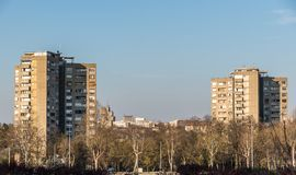 Typical communist buildings from the era of socialism in the city of Belgrade, Serbia.  stock photos
