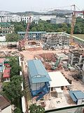 Typical construction site in Singapore Stock Photography