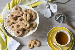 Typical cookies from The Netherlands called Krakeling, with cup of tea and flower royalty free stock photography