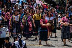 Typical costumes of Guatemala. Parade of independence September 15 San Lucas Toliman Solola G stock images