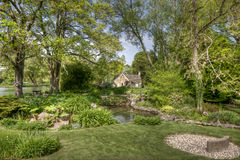 Typical Cotswolds gardens in Bibury. Photo taken in UK Stock Images