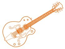 Orange Line Drawing Country and Western Guitar stock photo