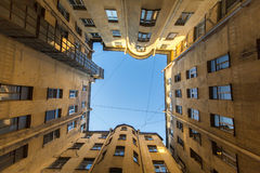 A typical courtyard in the old district of St. Petersburg Stock Photography