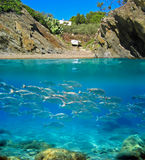 Typical cove of Costa Brava with underwater view Stock Images