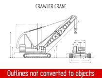 Typical crawler crane overall dimensions outline blueprint template Royalty Free Stock Photography