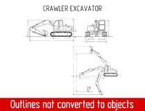 Typical crawler excavator overall dimensions outline blueprint template Stock Images