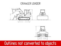 Typical crawler loader overall dimensions outline blueprint template Stock Photo