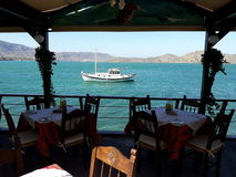 Cretan Restaurant 2. Typical cretan restaurant by the sea in Elounda Stock Image