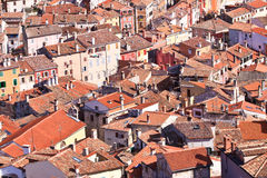 Typical Croatian architecture in the old city of Rovini on the m Stock Photo